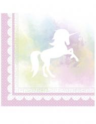 20 Serviettes en papier Licorne pastel 33 x 33 cm