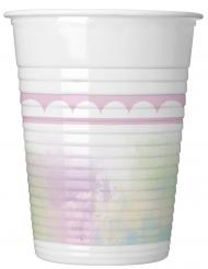 8 Gobelets en plastique Licorne pastel 200 ml