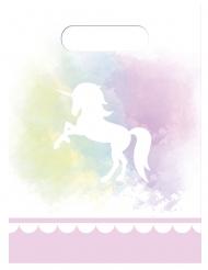 6 Sacs cadeaux Licorne pastel 16,5 x 23 cm