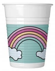 8 Gobelets en plastique Bébé Licorne 200 ml