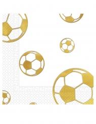 15 Serviettes en papier Football or 33 x 33 cm