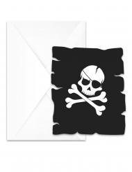 6 Cartons d'invitation avec enveloppes Pirate crâne noir