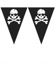 Guirlande de 9 fanions Pirate crâne noir