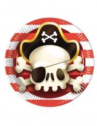 8 Assiettes en carton Pirate rouge et blanc 23 cm