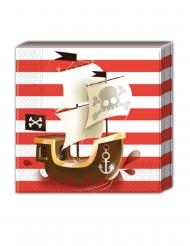20 Serviettes en papier Pirate rouge et blanc 33 x 33 cm