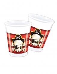 8 Gobelets en plastique Pirate rouge et blanc 200 ml