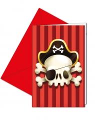 6 Cartons d'invitation avec enveloppes Pirate rouge et blanc