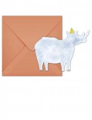 6 Cartons d'invitation avec enveloppes Safari Party