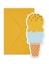 6 Cartons d'invitation avec enveloppes Glace Passion