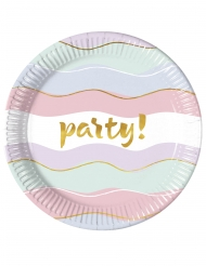 8 Assiettes en carton Elegant Party pastel 23 cm