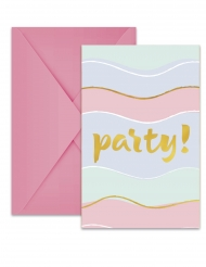 6 Cartons d'invitation avec enveloppes Elegant Party pastel
