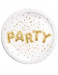 8 Assiettes en carton Party blanc et or 23 cm