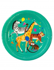 8 Assiettes en carton Party Animal vertes 23 cm