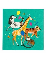 12 Petites serviettes en papier Party Animal vertes 25 x 25 cm