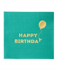 16 Petites serviettes en papier Happy Birthday vertes 25 x 25 cm