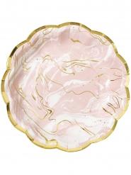 8 Assiettes en carton effet marbre rose et or 23 cm