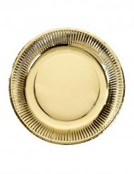 8 Assiettes en carton dorées 23 cm
