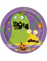 8 Petites assiettes en carton Silly Monsters 18 cm