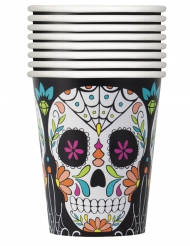 8 Gobelets en carton Tête de mort Day of the Dead 266 ml