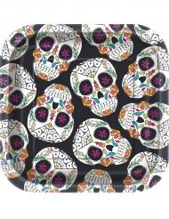 10 Petites assiettes carrées carton Tête de mort Day of the Dead 18 cm