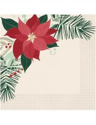 16 Serviettes papier étoile de Noël blanche rouge doré 33 x 33 cm