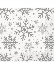 16 Serviettes papier Flocons de neige blanc et argent 33 x 33 cm