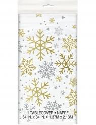 Nappe plastique Flocons de neige blanche et dorée 1,37 x 2,13 m