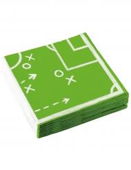 20 Serviettes en papier Football 33 x 33 cm