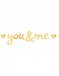 Guirlande en papier You & Me dorée 91 x 20 cm