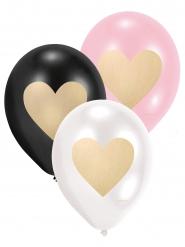 6 Ballons en latex Coeurs d'or 28 cm