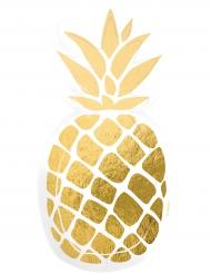 6 Assiettes en carton Ananas doré 15,5 x 23,5 cm