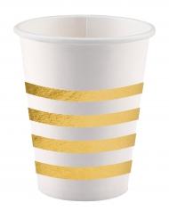 8 Gobelets en carton Cheers blanc et doré métallique 250 ml