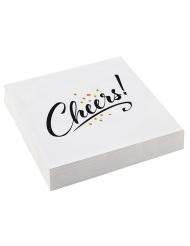 20 Serviettes en papier Cheers blanches 33 x 33 cm
