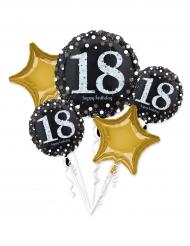 5 Ballons aluminium 18 ans Happy Birhday noir et or