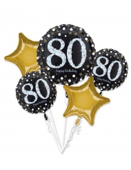 5 Ballons aluminium 80 ans Happy Birthday noir et or