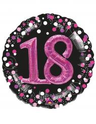 Ballon aluminium 18 ans noir et fuchsia 91 cm