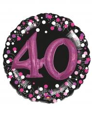 Ballon aluminium 40 ans noir et fuchsia 91 cm