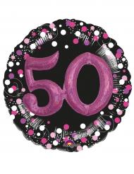Ballon aluminium 50 ans noir et fuchsia 91 cm