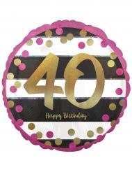 Ballon aluminium 40 ans Happy Birthday fuchsia et or 43 cm