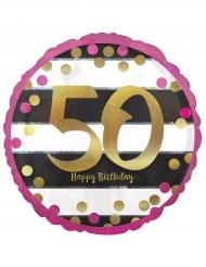 Ballon aluminium 50 ans Happy Birthday fuchsia et or 43 cm
