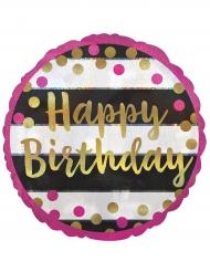 Ballon aluminium Happy Birthday fuchsia et or 43 cm