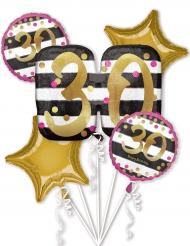 5 Ballons aluminium 30 ans fuchsia et or