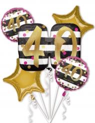 5 Ballons aluminium 40 ans fuchsia et or