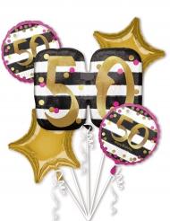 5 ballons aluminium 50 ans fuchsia et or