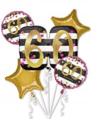5 ballons aluminium 60 ans fuchsia et or