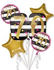 5 ballons aluminium 70 ans fuchsia et or