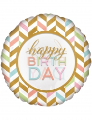 Ballon géant aluminium Happy Birthday pastel et or 71 cm