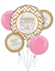 Bouquet de 5 ballons Happy Birthday confettis pastels et or