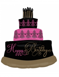 Ballon aluminium gâteau d'anniversaire Happy Birthday fuchsia noir 71 x 81 cm