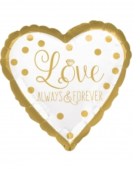 Ballon aluminium coeur Love Always & Forever blanc et or 43 cm